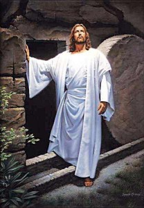 Jesus Christ, walking out of the tomb