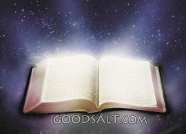 bright shining scriptures in open Bible picture