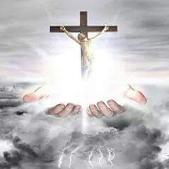 Clouds Gods hands reaching through Jesus Christ on the Cross picture