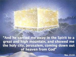 Picture of the New Jerusalem coming down to earth