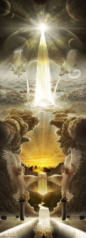 living water Painting with Angels pooring water from listerns